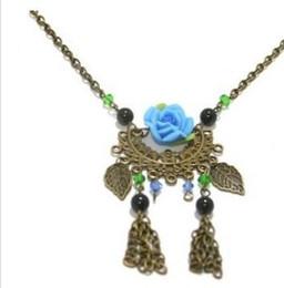 gold leaves blue rose flower l lady;s necklace (xysppfh)