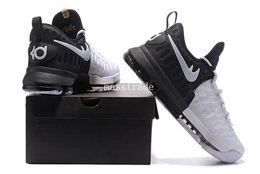 Promotion kds blanc [Avec boîte] 2017 Kids Mens KD 9 BHM Black History Month Blanc / Noir Basketball Shoes Baskets kd9 kds bon marché Taille 7-12