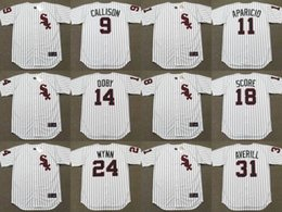 Wholesale Men s Chicago White Sox JOHNNY CALLISON LUIS APARICIO LARRY DOBY HERB SCORE EARLY WYNN EARL AVERILL Throwback Baseball Jersey Stitched