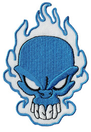 Fashion Skull Flame Embroidered Patch Blue Badge Iron On Jacket Applique Embroidery Patch Accessory Supplier Biker Vest Punk Emblem