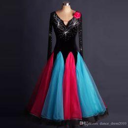 New Ballroom Dance Dress Modern Waltz Tango Standard Black Rhinestone Dance Dress Size S-XXL Custom A109