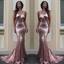 Cheap Pink Mermaid Prom Dresses Sexy V Neck Halter Backless Evening Prom Gowns Stunning Sequin Sheath Evening Dresses 2017 New
