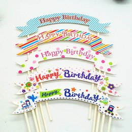 1pc Creative Cake Topper Multi Colors Happy Birthday Flags Double Stick For Birthday Party Cake Baking Supplies
