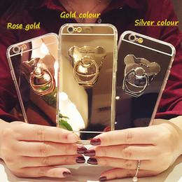 2017 anillo de metal espejo Para el teléfono del espejo del iphone 7 el sostenedor del anillo de dedo del oso de la historieta de los casos del oso que galvanoplasta la cáscara de la contraportada para el iphone 5S 5E 6S 7 más la caja del teléfono móvil económico anillo de metal espejo