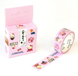 Masque de chat en Ligne-Vente en gros- 2016 Cute Cartoon Hello Kitty Ruban décoratif Washi Diy Scrapbooking Ruban masquant École Fourniture de bureau Escolar Papelaria