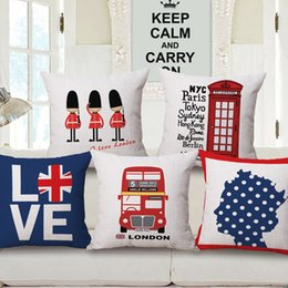 London Love Royal Guard Telephone Cushion Covers Thick Linen Cotton Pillow Cases Never Never Never Give Up Cover Bedroom Sofa Decoration