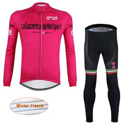 Compra Online Pro invierno baberos de ciclismo-2017 Tour de Italia ciclismo Invierno terciopelo polar pro equipo manga larga babero pantalones conjuntos MTB bicicleta ropa al aire libre Ciclismo maillot D1407