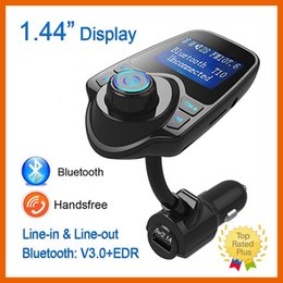 Wholesale New Car Charger Adapter Bluetooth T10 Music LCD Kit FM Transmitter Audio Receiver MP3 Player USB Handsfree with Retail Box
