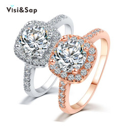 Visisap Gold color ring cubic zirconia Vintage engagement Wedding Rings For Women fashion Jewelry LOVERS Gifts VSR191