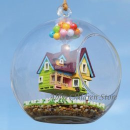 toy cabin prices - Wholesale-DIY Glass House Paradise Falls UP Flying Cabin House Model With Lamp Miniature Furniture Handmade Wooden Toy For Kids Child