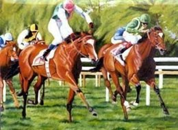 Wholesale HORSE RACING Pure Handpainted Art Oil Painting On High Quality Canvas customized size accepted tiann