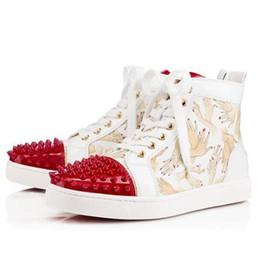 Франция человек для продажи-Роскошные дизайнерские бренды France Women / Мужчины High Top Sneaker Shoes Redbottom кроссовки Spikes Flats, Unisex Секси Тренер стразами Повседневная обувь