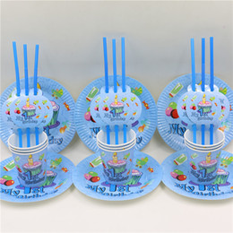 Wholesale people use Baby st First Birthday Decor set disposable party paper cup plates straw supplies Fun Party Decoration
