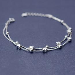 Promotion boîtes à bijoux dames Grossiste - 925 Sterling Silver Double Box Chain Matte Stars Bracelets Pour Femmes Fashion Lady Hypoallergenic Sterling-argent-bijoux