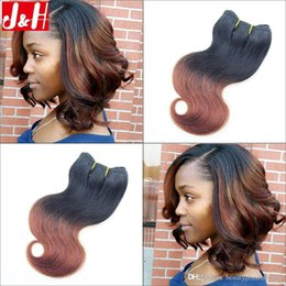 6Pcs lot 300g Full Head 8A Brazilian Ombre Hair Extensions Body Wave 1B 33 Remy Hair Weaves 2016 Trendy Bob Short Hairstyle for Black Women