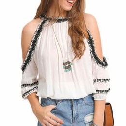 Lady Fashion White Blouse Hollow Out Short Sleeve Round Neck Women Shirt Tops With Black Side