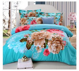 Wholesale 2017 New Bed Sheet Luxury D Print Floral Bedding Sets Comforter Sets Queen Size Duvet Cover Bed Sheet Bed Clothes