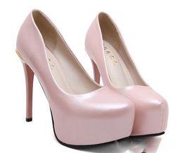 2017 taille 34 talon rose 2017 Adorable perle rose plate-forme orteil talons hauts pompes femmes chaussures de mariage taille 34 à 39 peu coûteux taille 34 talon rose