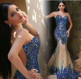 Wholesale Strapless Halter Dress - 2016 Sequined Mermaid Evening Dresses Sheer Neck Scoop Sheer Back Sequins Sweep Train Arabic Prom Gowns Party Dress Custom Made