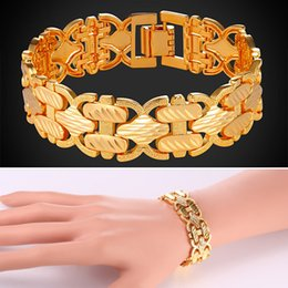 U7 Fashion Statement Bracelet Perfect Gift Platinum 18K Real Gold Plated Carving Wristband Chain Bracelet Fashion Accessories Gold Bracelet