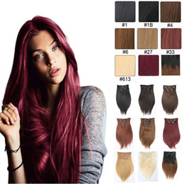 Free Shipping Unprocessed 7pcs 16clips Bralizian Indian Beauty Long Clip In On Hair Extension Direct Factory Price silky Straight no tangle