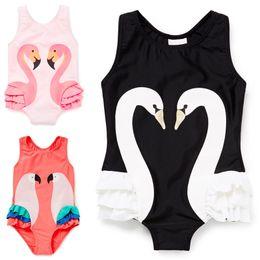 Girls Swimsuit Cartoon Kids Swimwear with Swimming Cap Parrot Swan Flamingo 2017 baby girl bathing suit One Piece swim wear free shipping
