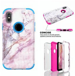 3 in 1 Marble Stone Hybrid TPU PC Hard Case For Iphone X 8 Iphone8 7 I7 6S 6 plus 4.7 5.5 I6S 5 SE 5S Fashion Phone Skin Cover Shell 70pcs