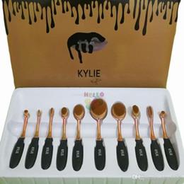 2017 outils gratuits d'expédition Nouveau Kylie Ovale Rose Or Apparence Professionnelle Nouveau Choix Ensemble d'outils de brosse Set 10pcs1 Livraison gratuite outils gratuits d'expédition offres