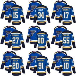2018 new St. Louis Blues 10 brayden schenn 15 robby fabbri 55 Colton Parayko 34 Jake Allen Ice Hockey Jersey Blue