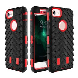 Wholesale 2017 Newest Robot Tire Grain In Cases TPU Hybrid PC Back Cover for iPhone S Plus c S5 Dual Layer Fashion Protector