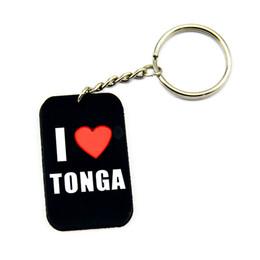 Wholesale I Love TONGA Silicon Keychain Custom Dog Tags Personalized Beaded Keychains