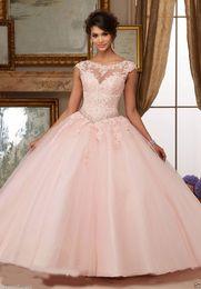 Gorgeous 2017 Quinceanera Dresses Blush Pink Bateau Neck Cap Sleeve Appliques Lace Sequins Beaded Ball Gown Sweet 16 Dresses