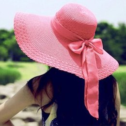 Fashion Solid Color Women Wide Brim Cap Summer Beach Hat Lady Outdoor Straw Sun Cap Bowknot Travel Cap