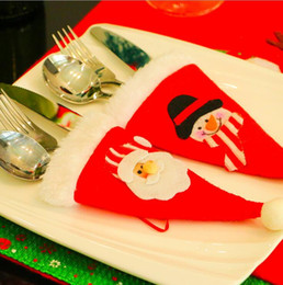 Christmas decorations knife and fork sets stickers Christmas table decorations