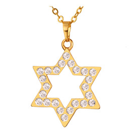 David Star Pendants New Fashion 18K Real Gold Plated Top Quality Austrian Rhinestone Necklaces & Pendants For Women P199