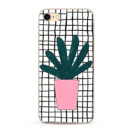Wholesale White Stripe Grid Phone Case For Apple iphone Case For iphone Plus S Plus Green Plants Potted Painted Back Cover Coque