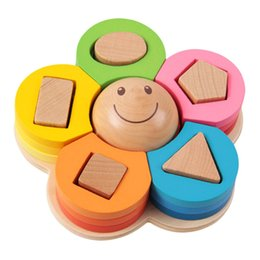 Wholesale hot Montessori wooden Geometry paired Sorting Puzzle Board flower Caterpillar baby kids early education toys Teaching aid