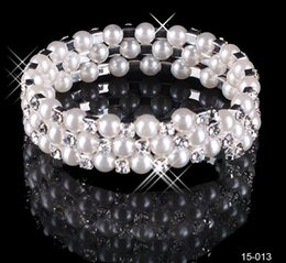 Wholesale Modest Cheap In Stock Row White Pearls Bridal Bracelets Wedding Jewelry Vintage Bracelet for Party Prom Evening Women