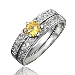 Acheter en ligne 925 ensembles de mariée-Simulated Diamond Yellow Opal Engagement Couple Ring Set Prong Set Cubic Zircon Half Eternity Wedding Band Bijoux nuptiaux 925 Silver
