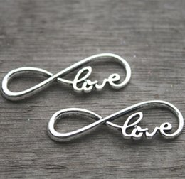 "15pcs-- love Charms, Antique Silver letter ""8"" symbol With Love Connector Link Charm Infinite Pendant 13x38mm"