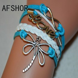 2017 New Woven White Blue Leather Rope Dragonfly LOVE Infinity Accessories Cuff Charm Bracelet Bangles Fashion Women Men Wristbands Jewelry