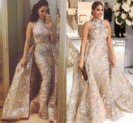 2018 Sequined Appliques Mermaid Overskirt Dresses Evening Wear Yousef Aljasmi Dubai Arabic High Neck Plus Size Celebrity Prom Party Dress
