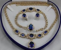 Bague en or aquamarine à vendre-Bijoux pour femmes aigue-marine or jaune Boucles d'oreilles Bracelet Collier Anneau + boîte