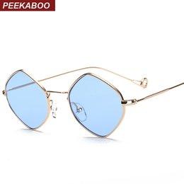 2017 gafas de sol púrpura Venta al por mayor - marco de las gafas de sol de la vendimia de los hombres de Peekaboo pequeño marco 2017 azul claro rosado púrpura del marco de las gafas de sol del océano uv400 gafas de sol púrpura promoción