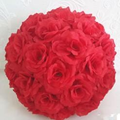 Elegant Red Artificial Rose Silk Flower Ball Hanging Kissing Balls 15 cm to 60CM Ball For Wedding Party Decoration Supplies Cheap Prices