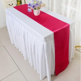 Wholesale Table Runner Satin Table Runners for Wedding X108 inch Satin Ribbon Cloth Table Runner Flag of Wedding Banquet Decoration