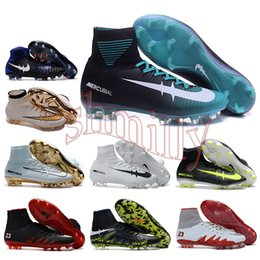Wholesale mens high ankle Football Boots Cristiano CR7 Mercurial Superfly V Soccer Shoes ACC magista Obra II FG Soccer Cleats men neymar Hypervenom