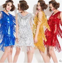 Hot Sale 5Color Gold Blue Sliver Adult Girl Latin Dance Dress salsa tango Chacha Ballroom Competition Practice Sequin Tassel Dance Dress