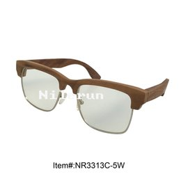 square metal full frame walnut solid wood half frame optical reading glasses