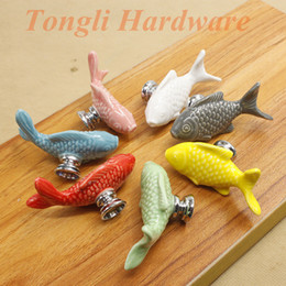 Wholesale white gray pink red green blue yellow Big fish ceramic cabinet handle drawer pull child s bedroom furniture knob